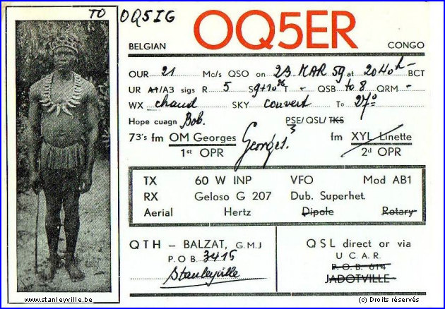Carte de radio amateur OQ5ER